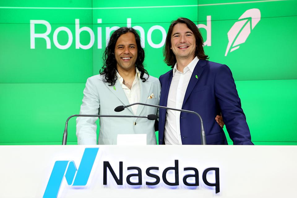 NEW YORK, NEW YORK - JULY 29: Baiju Bhatt and Vlad Tenev attend Robinhood Markets IPO Listing Day on July 29, 2021 in New York City. (Photo by Cindy Ord/Getty Images for Robinhood)