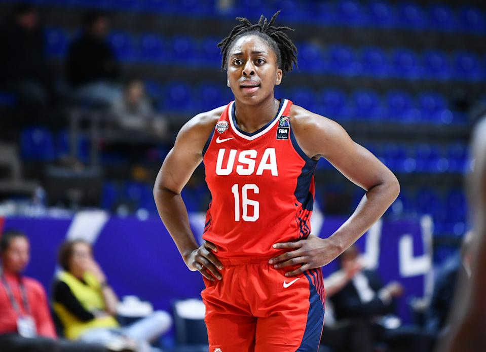 Nneka Ogwumike of USA reacts during the FIBA Women's Olympic Qualifying Tournament 2020 Group A match between Mozambique and USA at Aleksandar Nikolic Hall on February 8, 2020 in Belgrade, Serbia. (Photo by Srdjan Stevanovic/Getty Images)