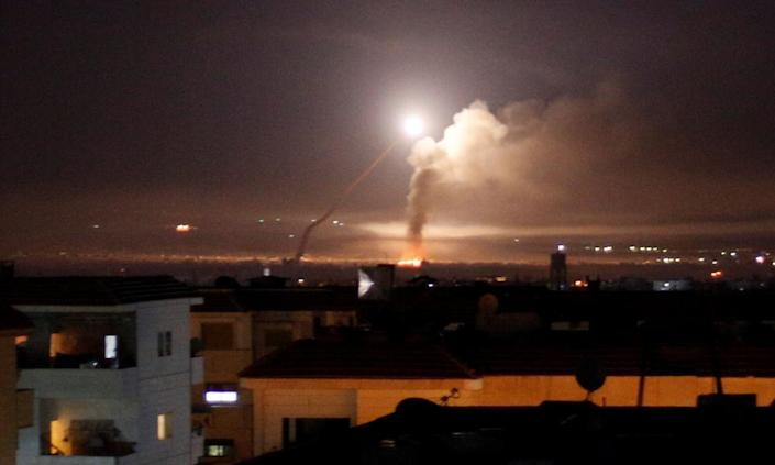 """<span class=""""element-image__caption"""">Missile fire is seen from Damascus, after Israel responded to a rocket attack on the Golan Heights with strikes inside Syria.</span> <span class=""""element-image__credit"""">Photograph: Omar Sanadiki/Reuters</span>"""
