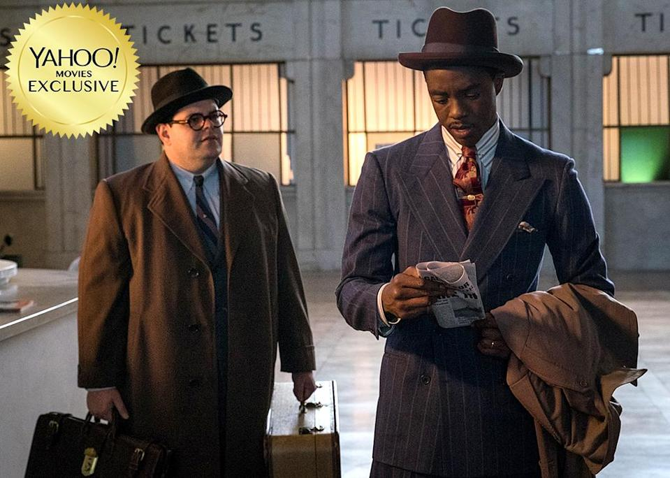"""<p>Long before he was on the Supreme Court, Thurgood Marshall (<a rel=""""nofollow"""" href=""""https://www.yahoo.com/movies/tagged/chadwick-boseman"""" data-ylk=""""slk:Chadwick Boseman"""" class=""""link rapid-noclick-resp"""">Chadwick Boseman</a>) was a scrappy NAACP lawyer on the frontlines of racial injustice. <a rel=""""nofollow"""" href=""""https://www.yahoo.com/movies/tagged/reginald-hudlin"""" data-ylk=""""slk:Reginald Hudlin"""" class=""""link rapid-noclick-resp"""">Reginald Hudlin</a>'s drama looks at one defining case. 