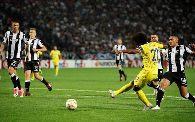 Willian puts Chelsea in front at PAOK Salonika in the seventh minute (Pic: Reuters/John Sibley)