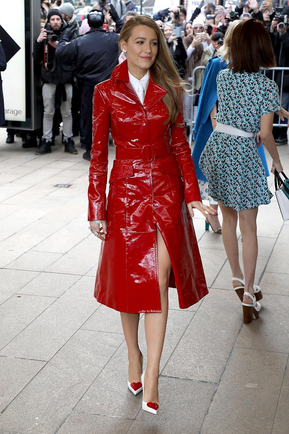 <p>Making a striking appearance at New York Fashion Week, Blake dressed in a red vinyl coat by the designer which she paired with playful heart pumps. <br><em>[Photo: Getty]</em> </p>