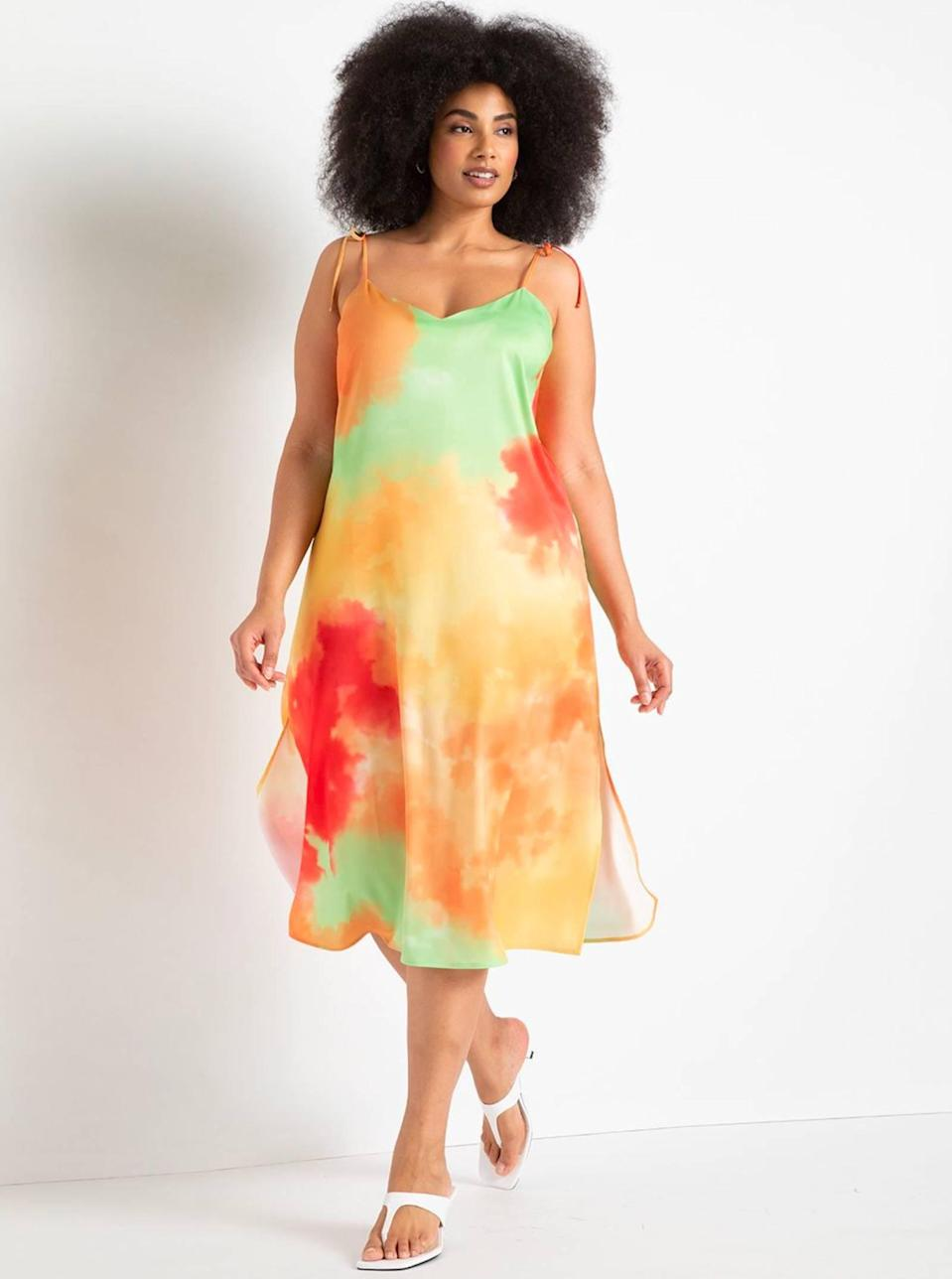"""The bright and painterly hues on this dip-dye dress are so stunning and unique. Dress it up with kitten heels for a summer wedding, then give it some edge with chunky slides and a bucket bag another day. $100, Eloquii. <a href=""""https://www.eloquii.com/dip-dye-slipdress/1227748.html?"""" rel=""""nofollow noopener"""" target=""""_blank"""" data-ylk=""""slk:Get it now!"""" class=""""link rapid-noclick-resp"""">Get it now!</a>"""