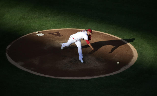 Los Angeles Angels starting pitcher Jaime Barria throws to the plate during the first inning of a baseball game against the Cincinnati Reds Wednesday, June 26, 2019, in Anaheim, Calif. (AP Photo/Mark J. Terrill)