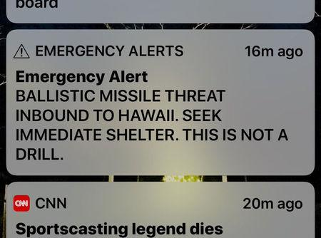 A screen capture from a Twitter account showing a missile warning for Hawaii