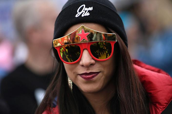 <p>A demonstrators wears Wonder Woman glasses as she attends the Women's March on January 21, 2017 in Washington, DC. (JOSHUA LOTT/AFP/Getty Images) </p>
