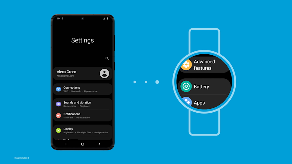 <p>A screenshot showing the new Samsung One UI Watch experience based on Wear OS. A phone showing a Settings screen on the left, three dots in the middle and a watch on the right showing similar Settings.</p>