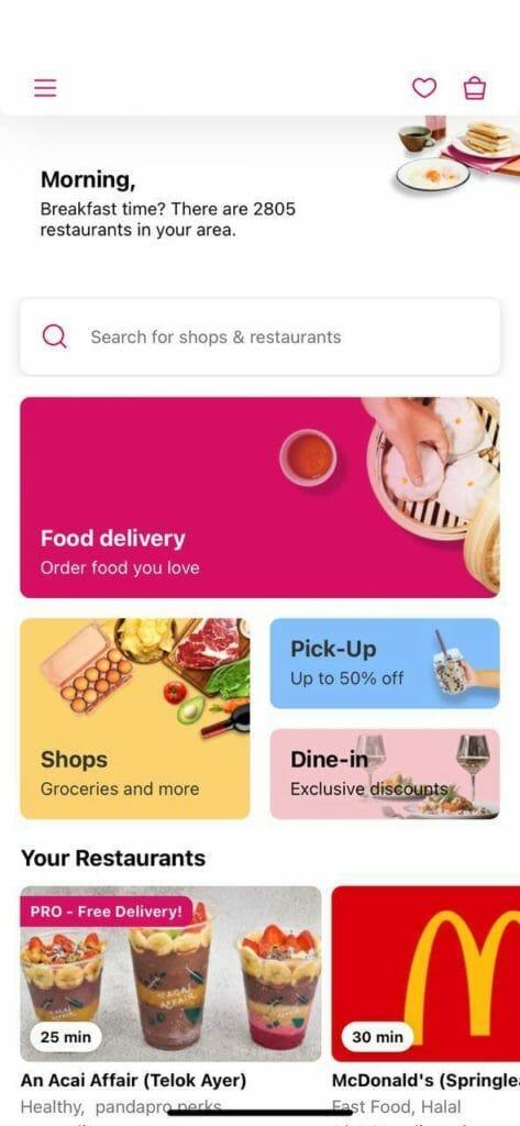 The dine-in tab is located just below the pick-up button in the app