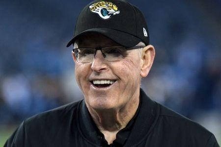FILE PHOTO: Dec 6, 2018; Nashville, TN, Jacksonville Jaguars executive vice president of football operations Tom Coughlin looks on before a game aTennessee Titans at Nissan Stadium. Mandatory Credit: Kirby Lee-USA TODAY Sports