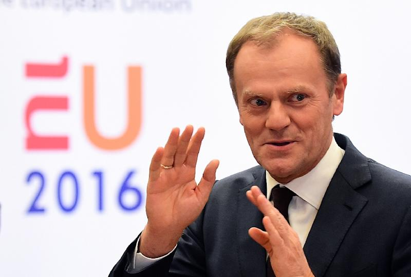 European Council President Donald Tusk answers questions during a press conference in Brussels, on February 2, 2016 (AFP Photo/Emmanuel Dunand)