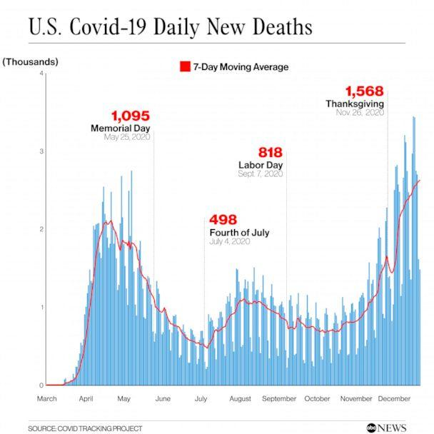 PHOTO: U.S. Covid-19 Daily New Deaths (COVID TRACKING PROJECT)