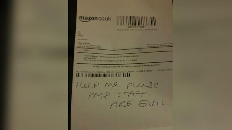 April Dorsett claims she discovered this note inside her Amazon package. Source: Facebook