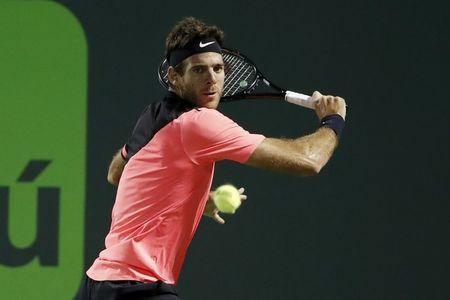Mar 28, 2018; Key Biscayne, FL, USA; Juan Martin del Potro of Argentina hits a backhand against Milos Raonic of Canada (not pictured) on day nine at the Miami Open at Tennis Center at Crandon Park. Mandatory Credit: Geoff Burke-USA TODAY Sports