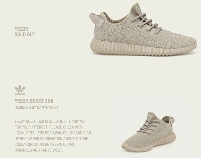 Tan Yeezy Boost 350s Sold Out At Adidas