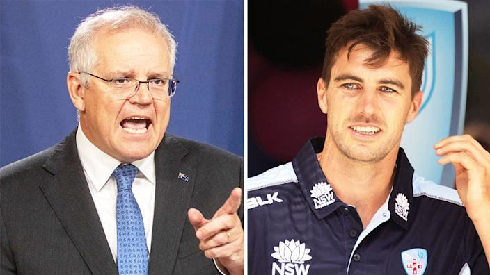 Pictured left, Australian PM Scott Morrison and Aussie star Pat Cummins on the right.