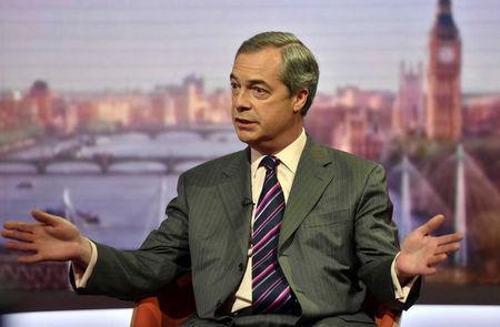 UKIP leader Nigel Farage is seen speaking on the BBC's Andrew Marr Show inLondon, Britain on May 1, 2016. Jeff Overs/Courtesy of BBC/Handout via REUTERS.