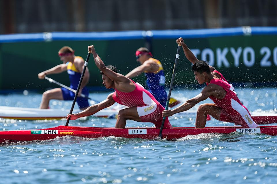 <p>TOKYO, JAPAN - AUGUST 03: Liu Hao and Zheng Pengfei of China compete in the Men's Canoe Double 1000m Semi-final on day eleven of the Tokyo 2020 Olympic Games at Sea Forest Waterway on August 3, 2021 in Tokyo, Japan. (Photo by Ni Minzhe/CHINASPORTS/VCG via Getty Images)</p>
