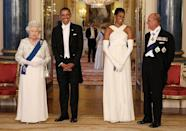 <p>The royal couple host former US President Barack Obama and First Lady Michelle for a state banquet at Buckingham Palace as part of their state visit to the UK.</p>