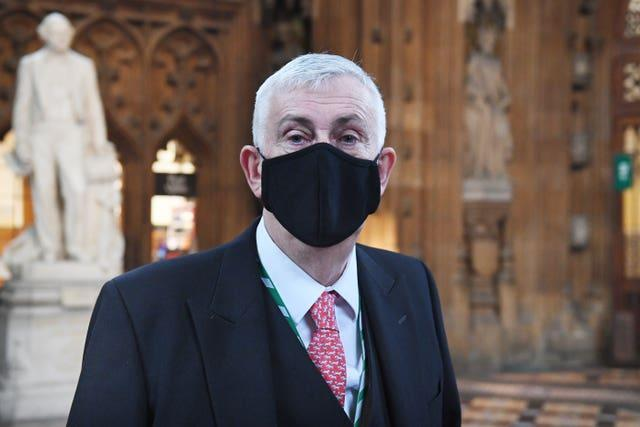 Commons Speaker Sir Lindsay Hoyle wearing a mask  (UK Parliament/Jessica Taylor/PA)