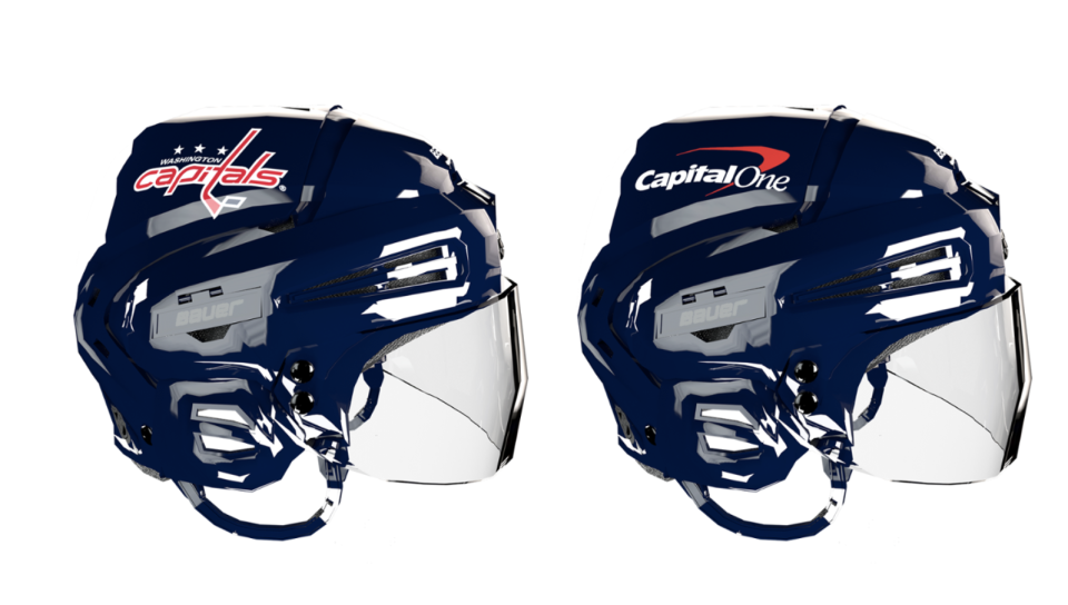 The Washington Capitals are one of the first NHL teams to display advertisements on their helmets. (Washington Capitals)