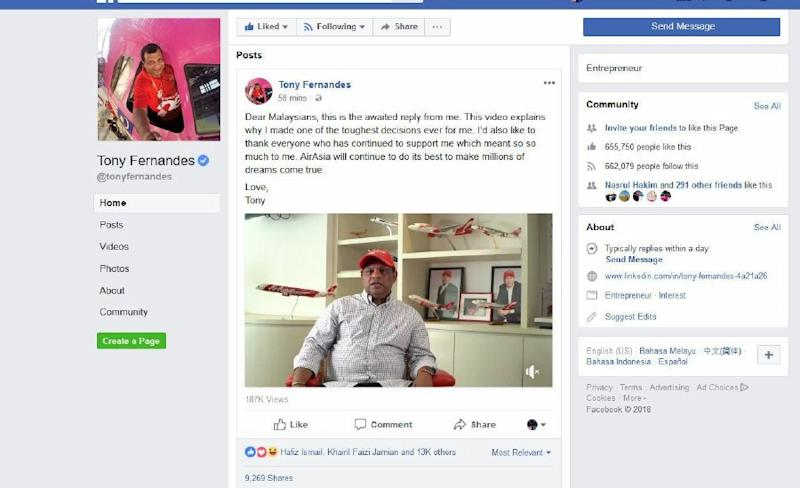 AirAsia CEO Tony Fernandes Apologizes for Malaysia Election Video