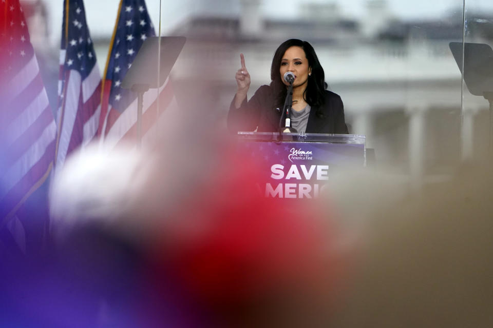 """FILE - In this Wednesday, Jan. 6, 2021 file photo, Katrina Pierson, senior advisor to Donald J. Trump for President, speaks in Washington at a rally in support of the president called the """"Save America Rally."""" Pierson, a longtime Trump ally and presidential campaign adviser, was bought in to coordinate with the White House and iron out a list of speakers that would share the stage with Trump. (AP Photo/Jacquelyn Martin, File)"""