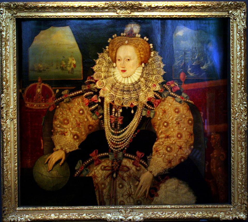 The Armada Portrait of Britain's late Elizabeth I, painted around 1588, is seen on display at the launch of a new exhibition entitled 'Elizabeth' at the National Maritime Museum in Greenwich, London April 28, 2003.  The exhibition, which marks the 400th anniversary of Queen Elizabeth I's death and is the biggest collection of her personal items and paintings ever seen, opens on Thursday and runs until September 14.