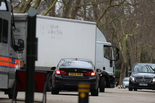 A van seen leaving the embassy in Kensington Palace Gardens earlier today