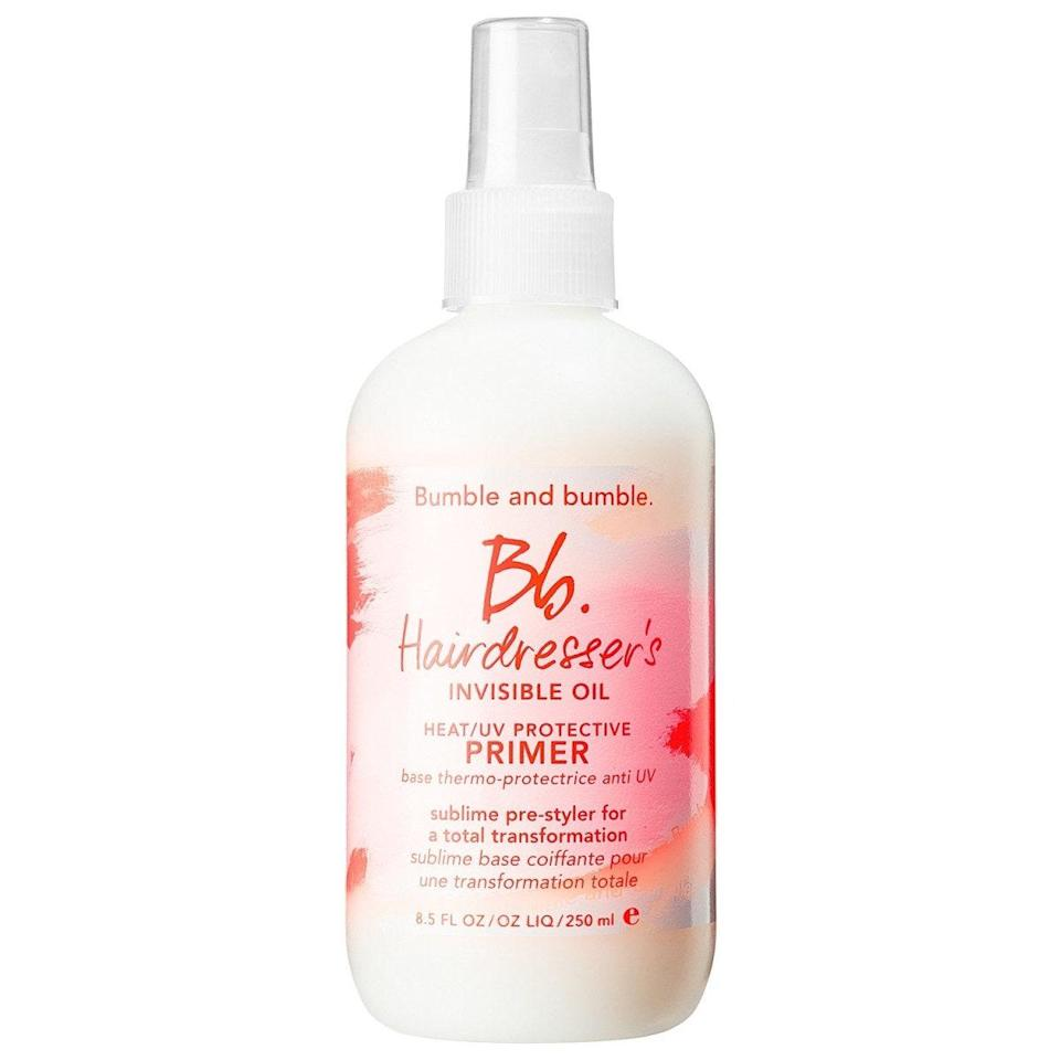 """<p>Packed with grapeseed oil, sweet almond oil, and safflower oil, Bumble and Bumble's Bb. Hairdresser's Invisible Oil Primer is an <a href=""""https://www.allure.com/review/bumble-bumble-hairdressers-invisible-oil-primer-review?mbid=synd_yahoo_rss"""" rel=""""nofollow noopener"""" target=""""_blank"""" data-ylk=""""slk:all-in-one"""" class=""""link rapid-noclick-resp"""">all-in-one</a> lotion that smooths frizz and protects hair from both UV (using avobenzone and octinoxate) and heat damage. Use on damp hair to style, or use on dry hair to refresh while adding that extra sun barrier.</p> <p><strong>$28</strong> (<a href=""""https://shop-links.co/1639253123566360710"""" rel=""""nofollow noopener"""" target=""""_blank"""" data-ylk=""""slk:Shop Now"""" class=""""link rapid-noclick-resp"""">Shop Now</a>)</p>"""