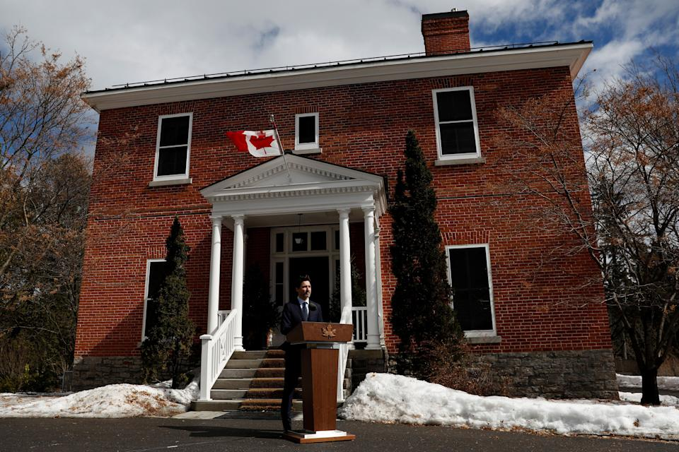 Prime Minister Justin Trudeau gives a speech at a news conference at Rideau Cottage in Ottawa on March 13, 2020. (Photo: Blair Gable / Reuters)