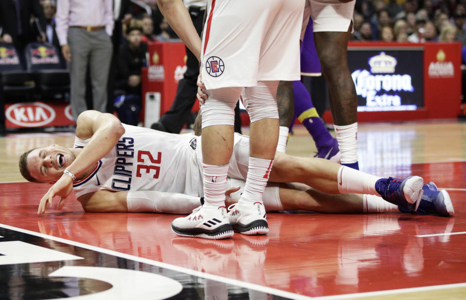 Clippers forward Blake Griffin's left leg has been plagued by injuries. (AP)