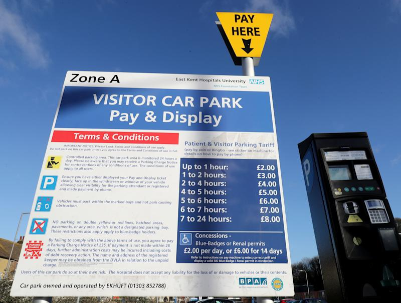 A view of parking charges at Buckland Hospital in Dover, Kent, which is part of the East Kent Hospitals University NHS Foundation Trust. (Photo by Gareth Fuller/PA Images via Getty Images)