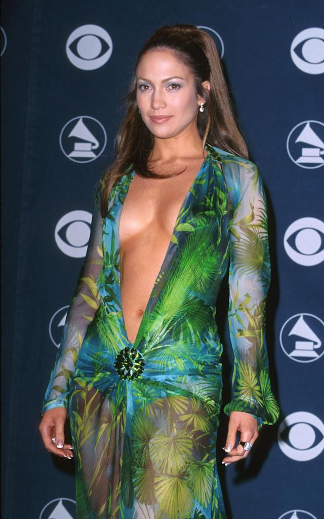 Jennifer Lopez wearing her iconic Versace dress at the 2000 Grammys. (Photo: Getty Images)