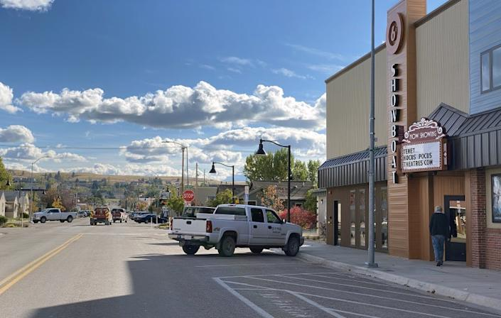 "Main Street in Polson, Montana where Christopher Nolan's film, ""Tenet"" is showing at the Showboat Theater. Showboat Cinemas movie theater in Polson, Montana is showing ""Tenet"" with social distancing requirements in place. Credit: Patricia Williams"