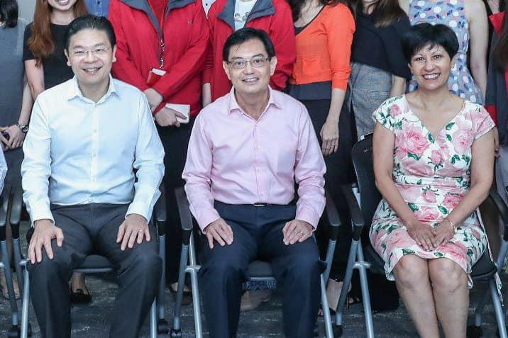 (L-R): Education Minister Lawrence Wong, Deputy Prime Minister and Finance Minister Heng Swee Keat, Second Minister for Finance and National Development Indranee Rajah. (PHOTO: Lawrence Wong/Facebook)