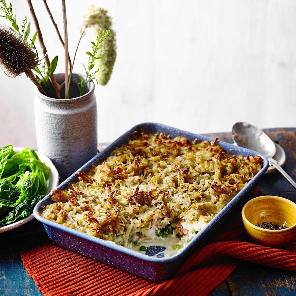 """<p>Use any sustainably sourced fish you fancy in this crispy golden pie.</p><p><strong>Recipe: <a href=""""https://www.goodhousekeeping.com/uk/food/recipes/a35415674/rosti-topped-fish-pie/"""" rel=""""nofollow noopener"""" target=""""_blank"""" data-ylk=""""slk:Rösti-Topped Fish Pie"""" class=""""link rapid-noclick-resp"""">Rösti-Topped Fish Pie</a></strong></p>"""