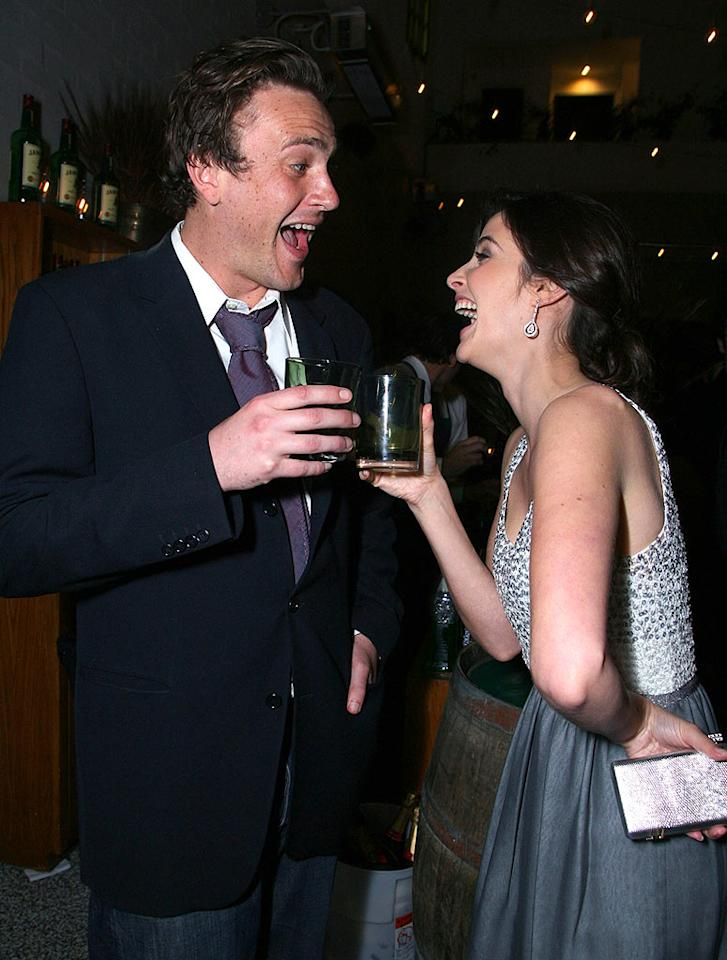 """Jason Segel and Cobie Smulders crack each other up. Expect to see more of Cobie's alter-ego, Canadian pop star Robin Sparkles, in an upcoming episode (we hear she sings a ballad!). Alexandra Wyman/<a href=""""http://www.wireimage.com"""" target=""""new"""">WireImage.com</a> - March 13, 2008"""