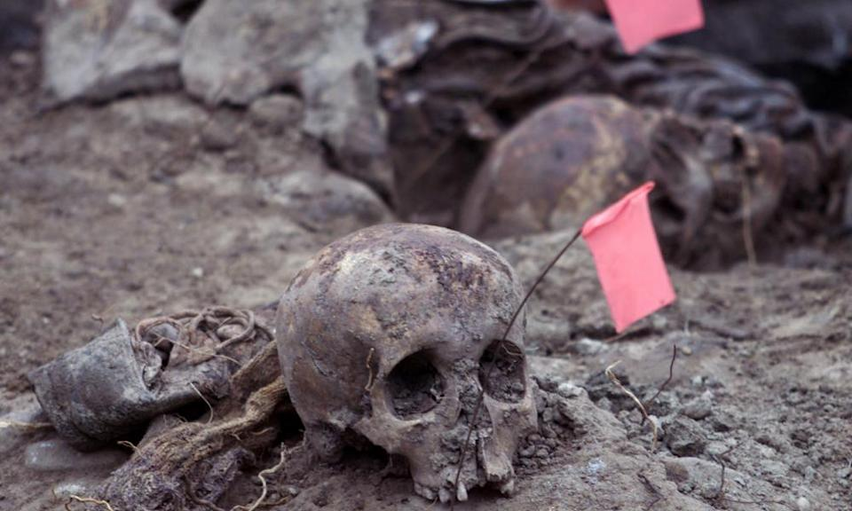 Remains found in a mass grave in the eastern village of Kamenica, believed to have been transferred from Srebrenica