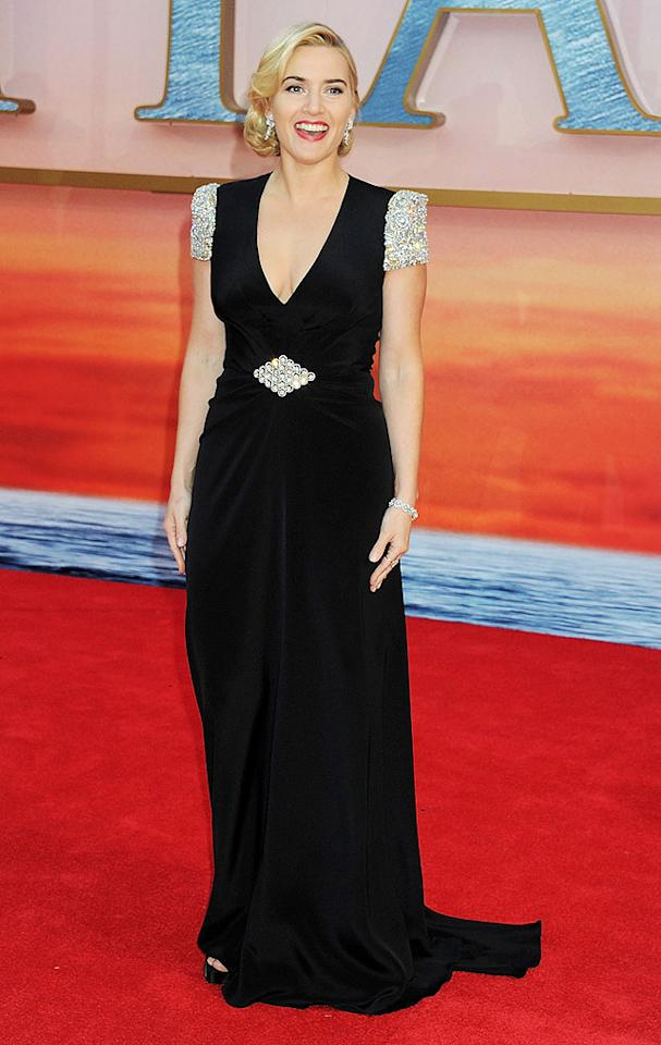 """Titanic"" opened to critical and commercial acclaim nearly 15 years ago, and its leading lady, Kate Winslet, looks better with each passing year. On Tuesday evening, the Oscar-winning actress hit the red carpet -- at London's Royal Albert Hall -- for the film's highly-anticipated 3D re-release in a breathtaking, silk, Swarovski crystal-encrusted Jenny Packham gown. A super chic 'do and diamond baubles completed her flawless look. (3/27/2012)<br><br><a target=""_blank"" href=""http://omg.yahoo.com/photos/titanic-then-and-now-1332957027-slideshow/"">""Titanic"" Cast: Then & Now</a>"