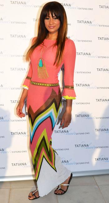 Celebrity fashion: Desperate Scousewives star Layla Flaherty has everything right what with the maxi dress, long sleeves, bright colours and tribal influence, but it's just not working for us.