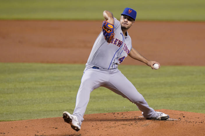 New York Mets starting pitcher Joey Lucchesi throws during the first inning of a baseball game against the Miami Marlins, Saturday, May 22, 2021, in Miami. (AP Photo/Lynne Sladky)