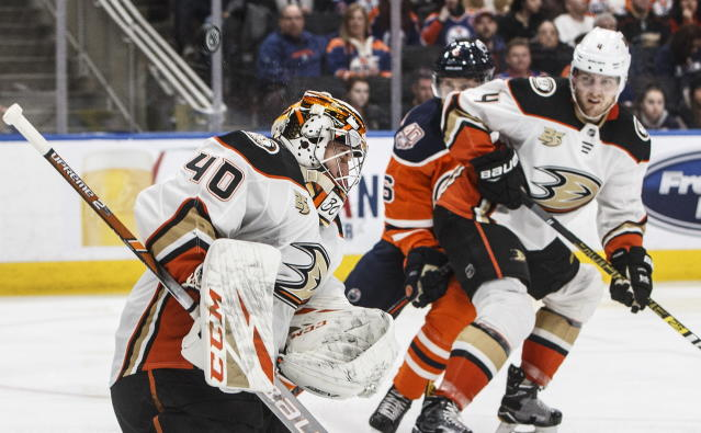 Anaheim Ducks' goalie Kevin Boyle (40) makes a save against the Edmonton Oilers during the second period of an NHL hockey game Saturday, Feb. 23, 2019, in Edmonton, Alberta. (Jason Franson/The Canadian Press via AP)