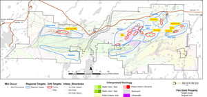 Map of Phase 2 Drill Targets at the Pen Gold Project
