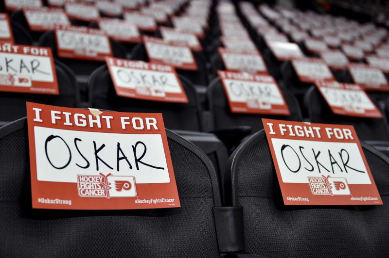 Signs are displayed in support for Philadelphia Flyers' Oskar Lindblom prior to an NHL hockey game against the Anaheim Ducks, Tuesday, Dec. 17, 2019, in Philadelphia. Lindblom is missing the rest of the season after being diagnosed with Ewing's sarcoma, a cancerous tumor that grows in the bones or in the tissue around bones. (AP Photo/Derik Hamilton)
