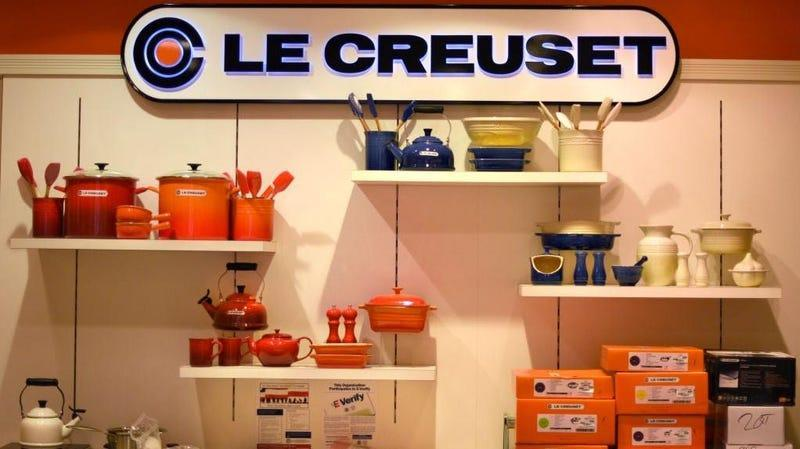 Le Creuset products on display in an outlet store in New Mexico