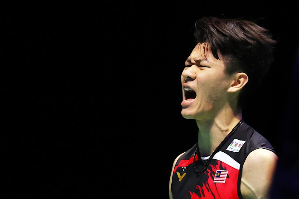 BIRMINGHAM, ENGLAND - MARCH 21: Lee Zii Jia of Malaysia celebrates a point during the Men's Final against Viktor Axelsen of Denmark during day five of YONEX All England Open Badminton Championships at Utilita Arena Birmingham on March 21, 2021 in Birmingham, England. (Photo by Naomi Baker/Getty Images)