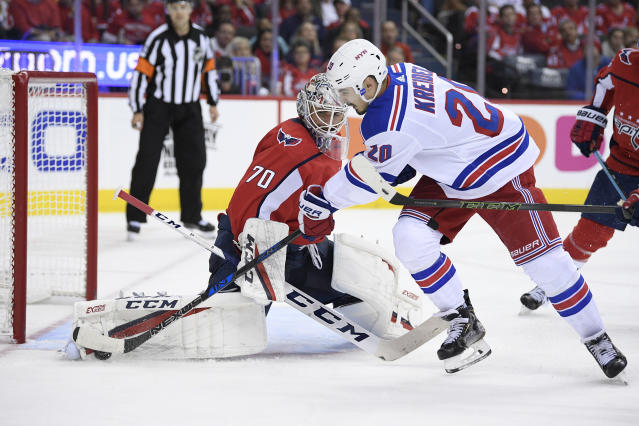 Washington Capitals goaltender Braden Holtby (70) stops the puck against New York Rangers left wing Chris Kreider (20) during the second period of an NHL hockey game, Wednesday, Oct. 17, 2018, in Washington. (AP Photo/Nick Wass)