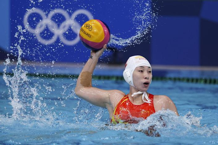 <p>Xinyan Wang of China in action during the women's classification match against the Netherlands.</p>