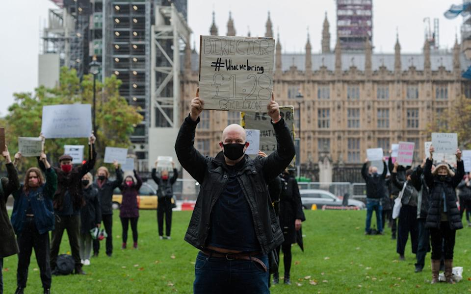 Theatre performers, creatives and technicians gather in Parliament Square to take part in the Survival in the Square' creative demonstration to highlight the plight of live events industry shut down due the Covid-19 pandemic - Barcroft Media