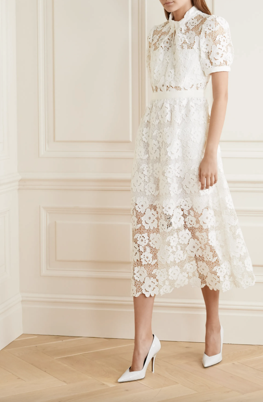 Self-Portrait Grosgrain-trimmed guipure lace midi dress (Photo via Net-A-Porter)
